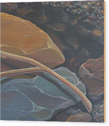 Aspen Rain Branch Wood Print