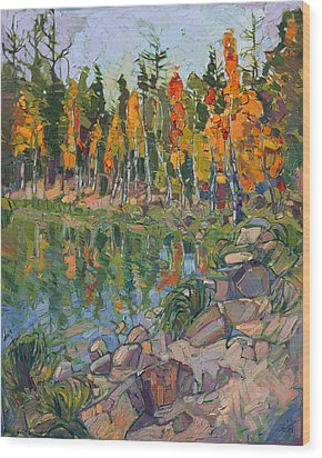 Aspen Row Wood Print by Erin Hanson