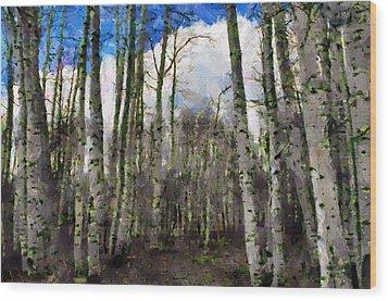 Aspen Standing Wood Print by Jeff Kolker