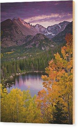 Aspen Sunset Over Bear Lake Wood Print by Mike Berenson