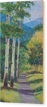 Aspen Trails Wood Print by Billie Colson