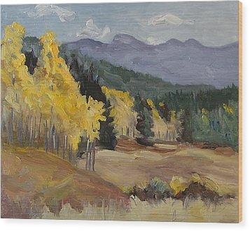 Aspen Tree Splash Of Fall Steamboat Springs Colorado Wood Print by Zanobia Shalks
