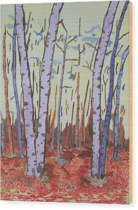 Aspen Trees Wood Print by Connie Valasco