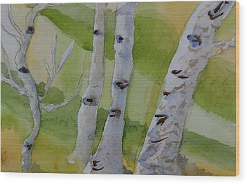 Wood Print featuring the painting Aspen Trunks by Beverley Harper Tinsley