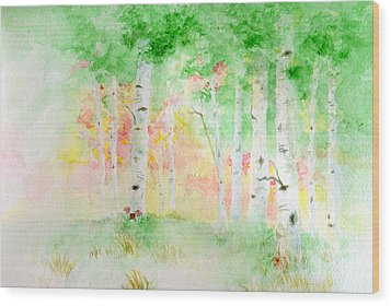Wood Print featuring the painting Aspens by Andrew Gillette