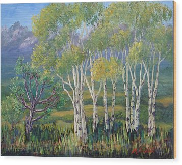 Aspens In The Rockies Wood Print by Maxine Ouellet