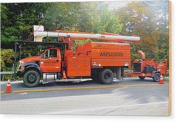 Asplundh Tree Expert Company Trucks Wood Print