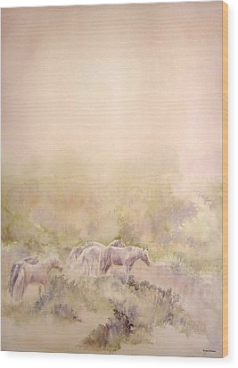 Assateague Ponies Wood Print by Barbara Widmann