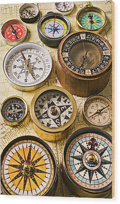 Assorted Compasses Wood Print by Garry Gay