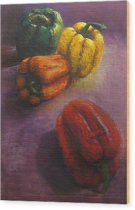 Assorted Peppers Wood Print by Tom Forgione