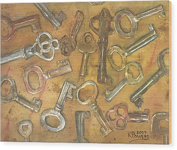Assorted Skeleton Keys Wood Print by Ken Powers