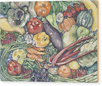 Assorted Vegetables Wood Print by Annie Laurie