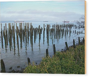 Astoria Ships  Wood Print by Quin Sweetman