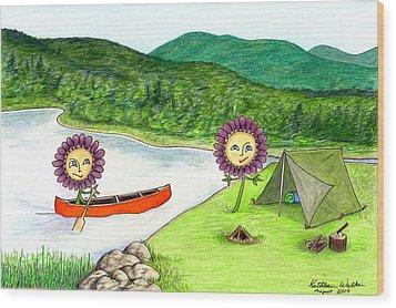 Astors Camping Wood Print by Kathleen Walker