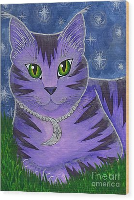 Astra Celestial Moon Cat Wood Print by Carrie Hawks