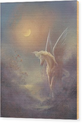 Astral Pegasus Wood Print by Jack Shalatain