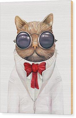 Astro Cat Wood Print by Animal Crew