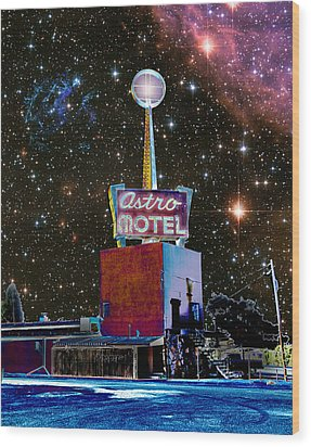 Wood Print featuring the photograph Astro Motel by Jim and Emily Bush