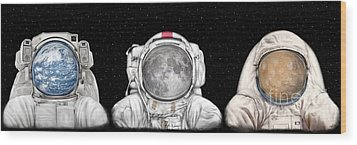 Astronaut Triptych Wood Print by Tharsis Artworks