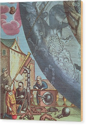 Astronomers Looking Through A Telescope Wood Print by Andreas Cellarius