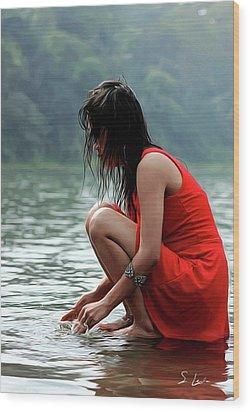 At A Lake Wood Print