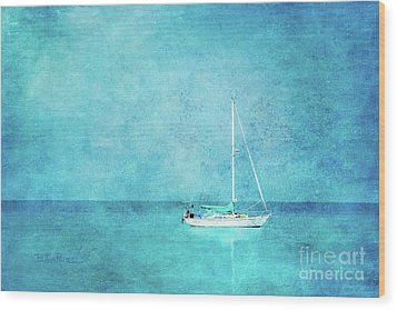 Wood Print featuring the mixed media At Anchor by Betty LaRue