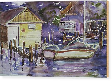 At Boat House 3 Wood Print by Xueling Zou