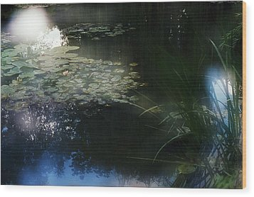 Wood Print featuring the photograph At Claude Monet's Water Garden 3 by Dubi Roman