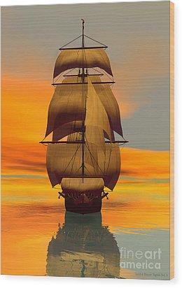At Full Sail Wood Print