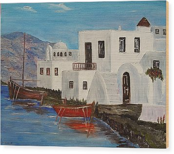 Wood Print featuring the painting At Home In Greece by Marilyn  McNish