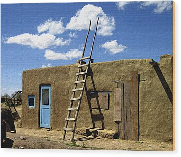 At Home Taos Pueblo Wood Print by Kurt Van Wagner