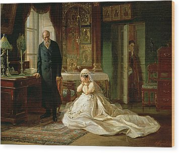At The Altar Wood Print by Firs Sergeevich Zhuravlev