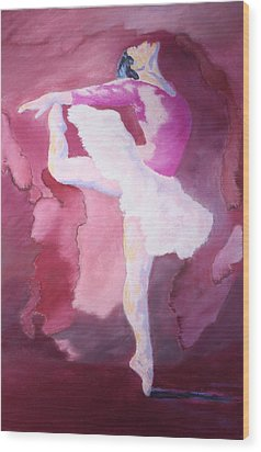 Wood Print featuring the painting At The Ballet by Nancy Jolley