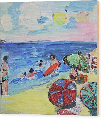 At The Beach Wood Print by Amara Dacer