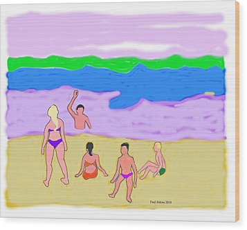 At The Beach  Wood Print by Fred Jinkins