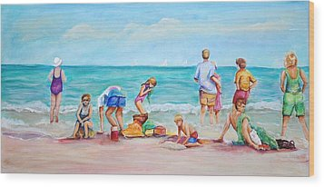 Wood Print featuring the painting At The Beach by Patricia Piffath