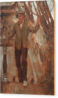 Wood Print featuring the painting At The Break Of The Poop  by Henry Scott Tuke
