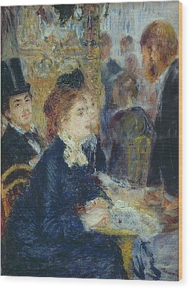 At The Cafe Wood Print by Pierre Auguste Renoir