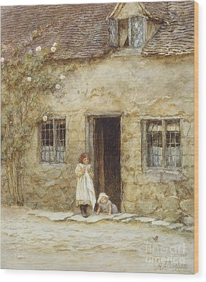 At The Cottage Door Wood Print by Helen Allingham