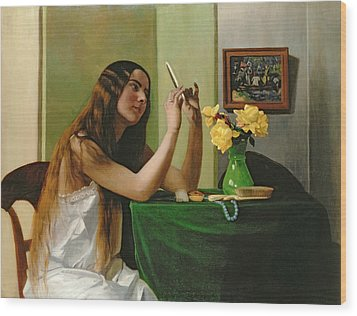 At The Dressing Table Wood Print by Felix Edouard Vallotton