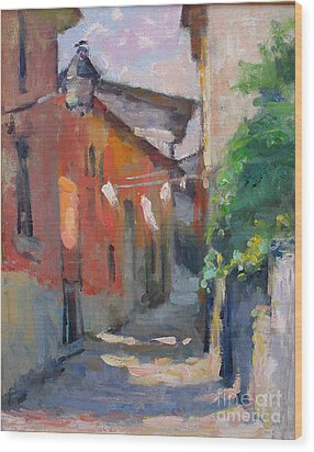 At The End Of The Alley Wood Print by Jerry Fresia