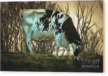 Wood Print featuring the painting At The End Of The Day - Black And White Cow by Janine Riley