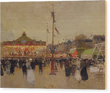At The Fair  Wood Print by Luigi Loir