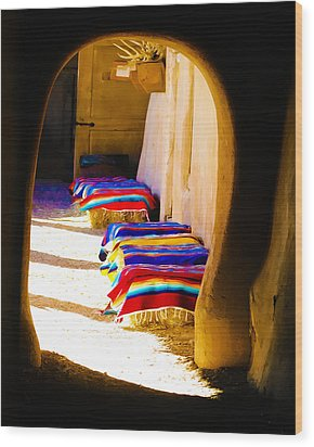 At The Hacienda Wood Print by Terry Fiala