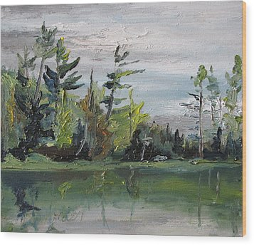 At The Lake Wood Print by Francois Fournier