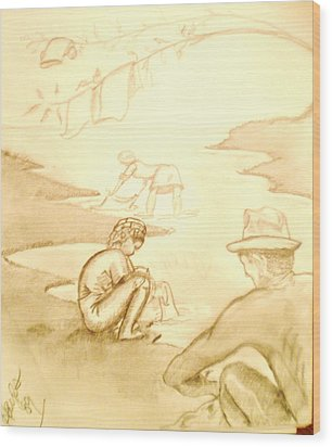 Wood Print featuring the drawing At The River by Barbara Hayes