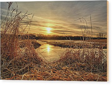 At The Rivers Edge Wood Print by Bonfire Photography