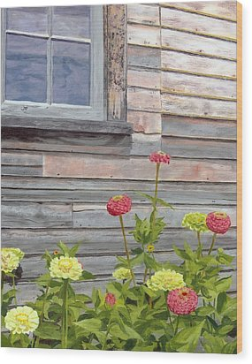 Wood Print featuring the painting At The Shelburne by Lynne Reichhart