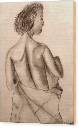 Wood Print featuring the drawing At The Spa by Barbara Giordano