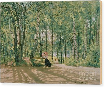 At The Summer Cottage Wood Print by Ivan Ivanovich Shishkin